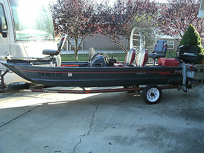 1991 15.7 Foot Bass Boat Fisher Hawk 3V Aluminum Fishing Boat Mercury 40 HP