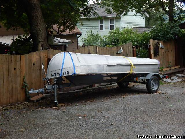 for sale 12 foot aluminum boat and trailer