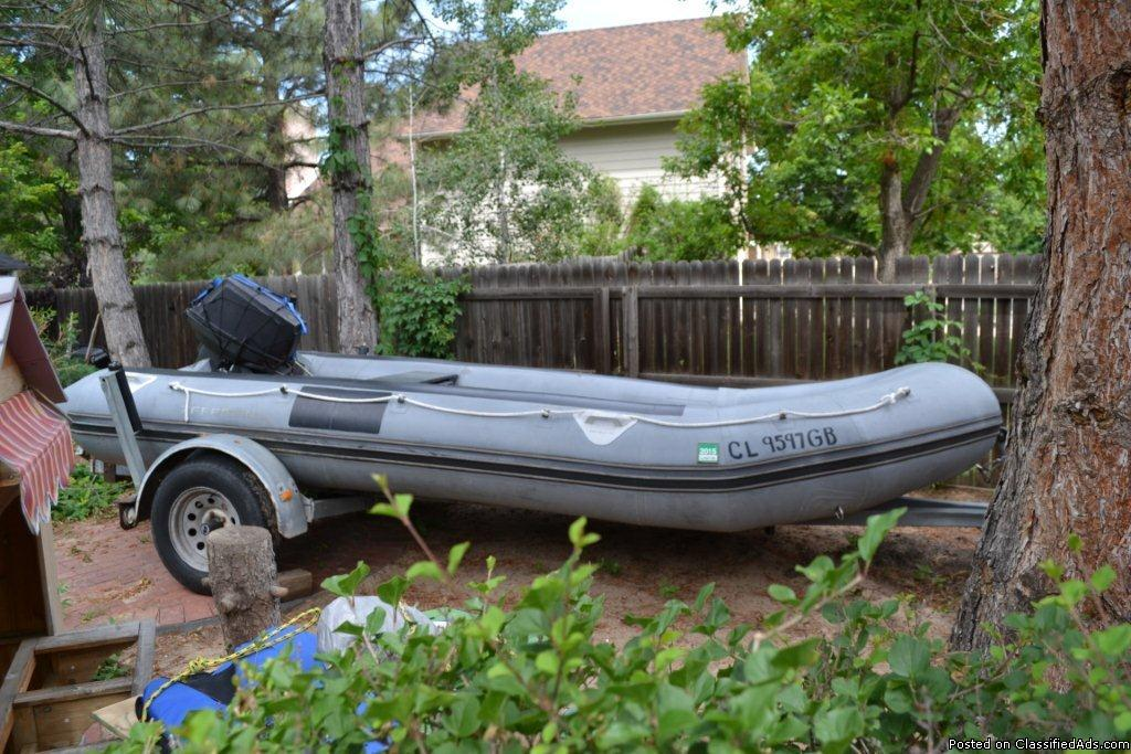 19' Inflatable Zepplin Boat with 40 HP motor and trailer