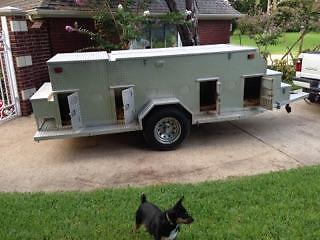 Custom Aluminum 8 Compartrment Dog Trailer
