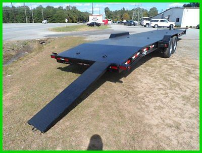 34' 2 car hauler equipment utility trailer 7k axles with brakes 14000 steel deck