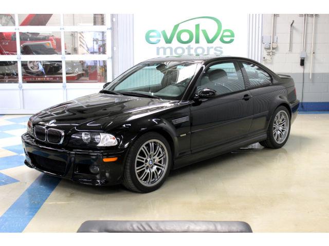 BMW : 3-Series M3 2dr Cpe 2002 bmw m 3 coupe 6 spd manual e 46 black on black clean carfax window sticker