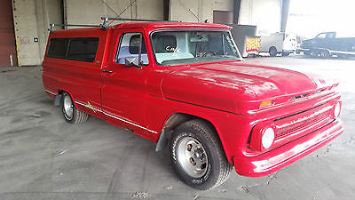 Chevrolet : C-10 CUSTOM CAB 1965 chevrolet c 10 v 8 4 speed red with camper top nice look california