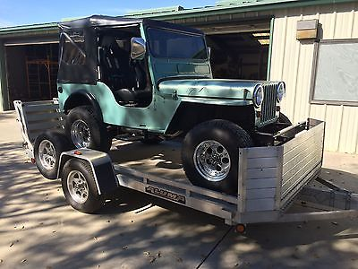 Willys : CJ-3A Custom 1952 willys cj 3 a 231 buick v 6 auto ps od full cage on an aluma trailer