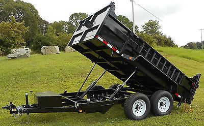 New 2016 Quality 7 x 12 12,000 Dump Equipment Trailer with Ramps