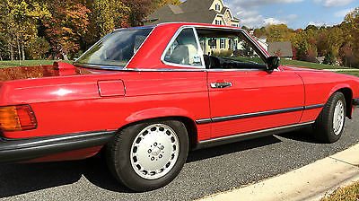 Mercedes-Benz : SL-Class 1986 mercedes 560 sl garage queen 107 red tan 49 k pagoda hardtop great invest