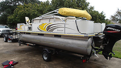 18ft pontoon deck boat & trailer with fishing package Mercury 50 horse motor