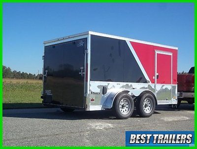 7x12 New enclosed double motorcycle trailer finished torsion axles 7 x 12 deluxe