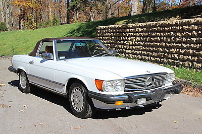 Mercedes-Benz : SL-Class 560SL 560 sl covertible 1989 31 678 original miles white ext beige int hard top
