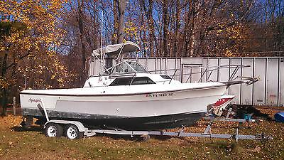1985 24' Aquasport Walkaround Cuddy Cabin Twin Outboards Fishing Boat w/ Trailer