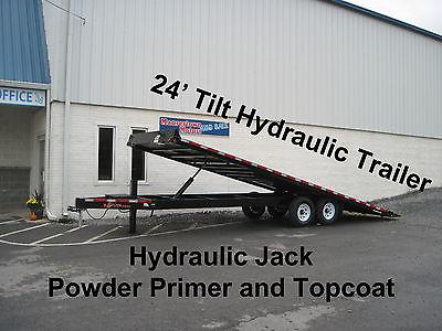 BWise 24' Tilt Deckover Equipment Trailer 15k GVW- Hydraulic Jack, New 2015
