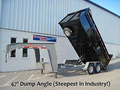 16' BWise Gooseneck Ultimate Dump Trailer Hydraulic Gate & Jacks, Tarp, Spare