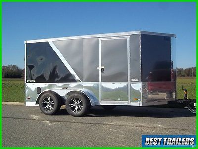 2016 7 x 12 finsihed motorcycle pkg New grey and black enclosed cargo trailer