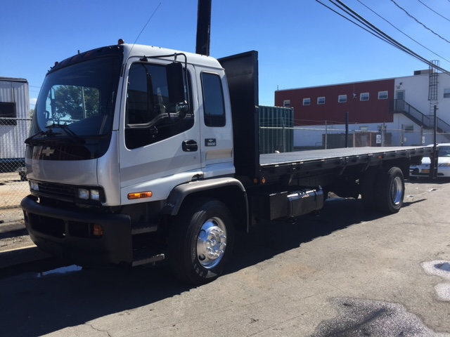 2002 Gmc T8500 24 Foot Flatbed Rack Body With Lif Flatbed Truck