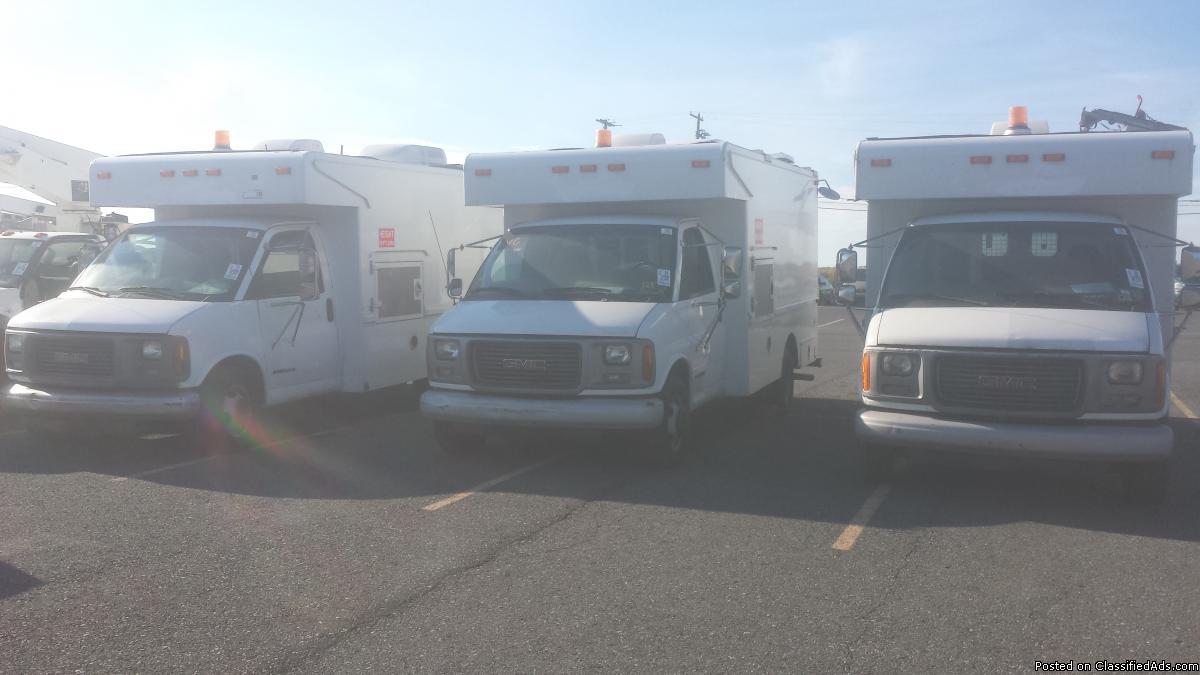 Bucket trucks, aero lift auger trailer, cargo van generator, box,utility